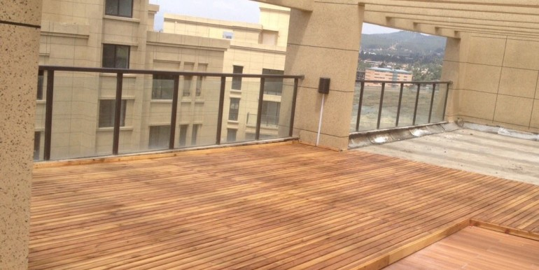 200 square meters big private terrace with a great view over Addis Abeba, you can see the Bole International airport